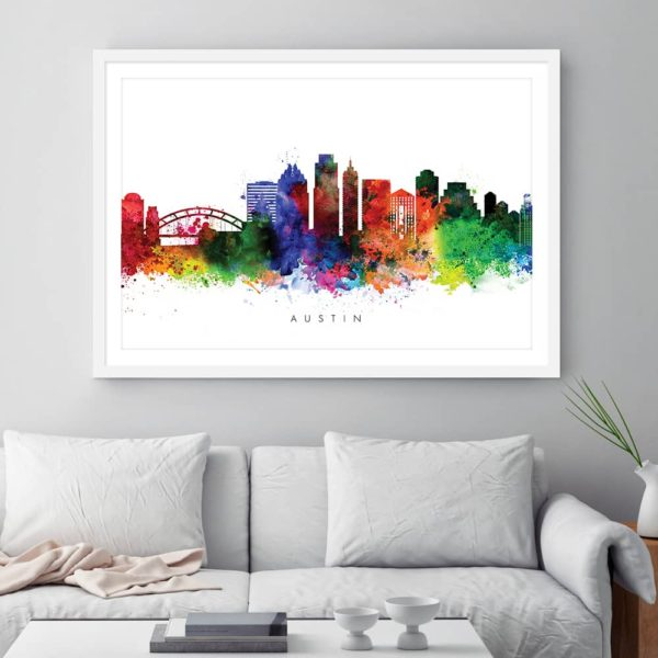 austin skyline multi color watercolor print framed
