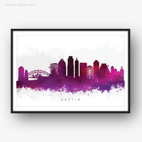 austin skyline purple watercolor print