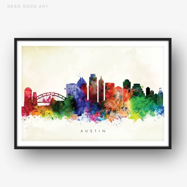 austin skyline yellow wash watercolor print