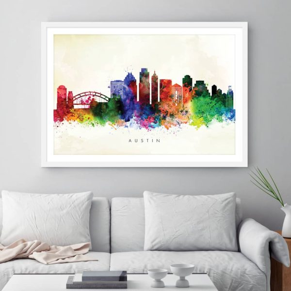 austin skyline yellow wash watercolor print framed