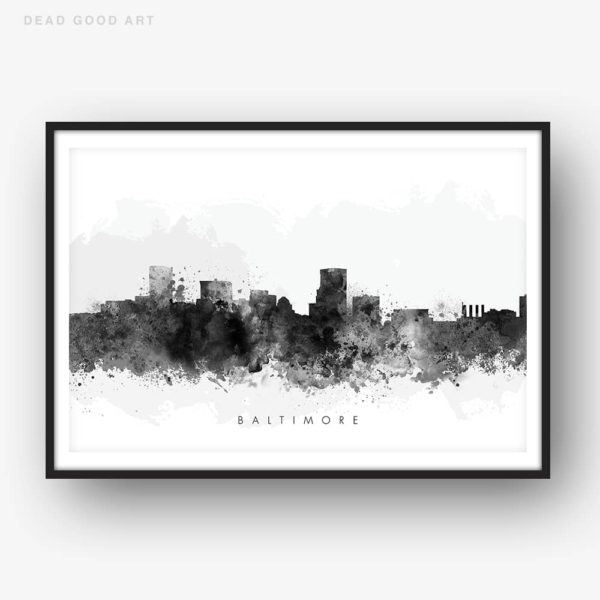 baltimore skyline black white watercolor print