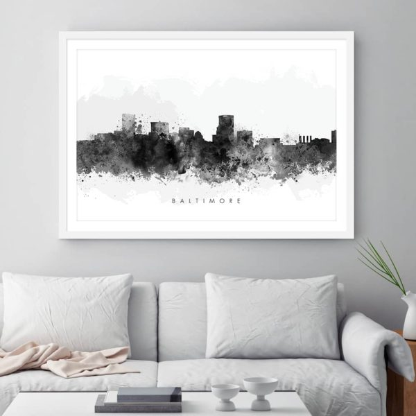 baltimore skyline black white watercolor print framed