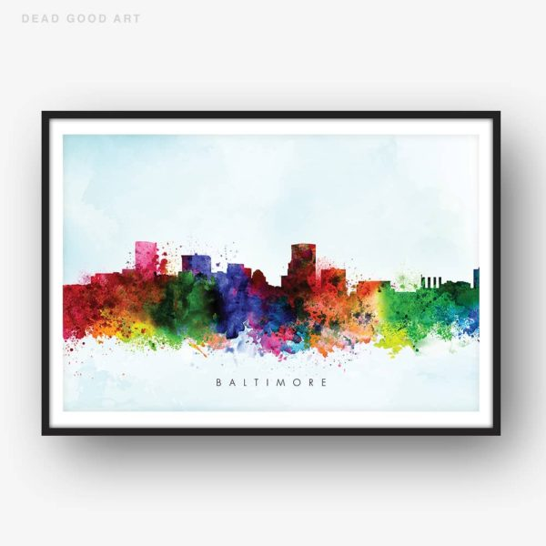 baltimore skyline blue wash watercolor print