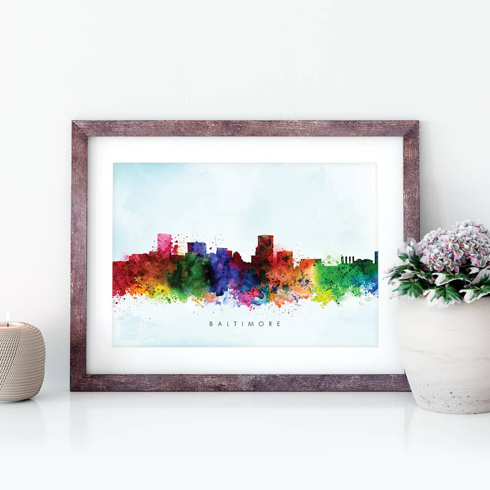 baltimore skyline blue wash watercolor print closeup