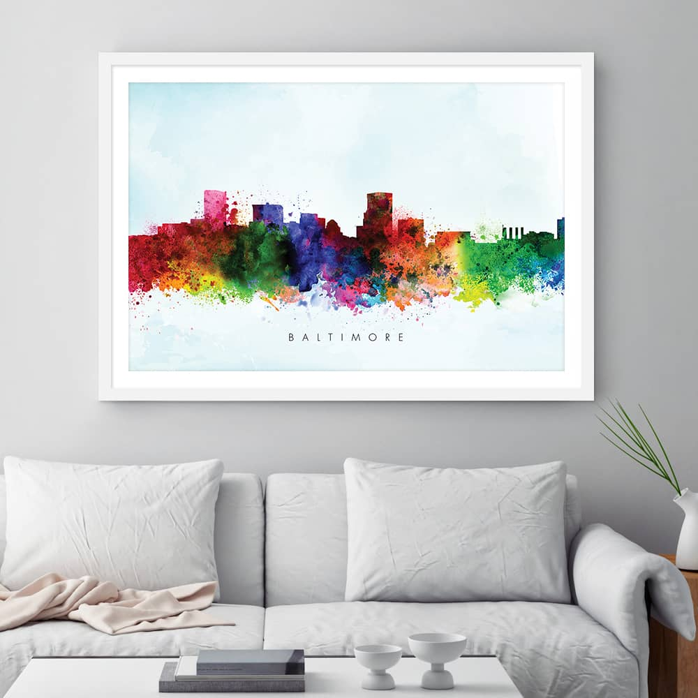 baltimore skyline blue wash watercolor print framed