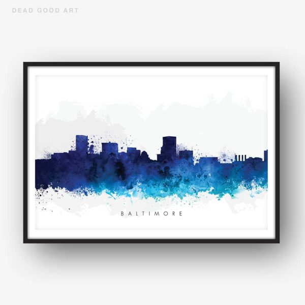 baltimore skyline blue watercolor print