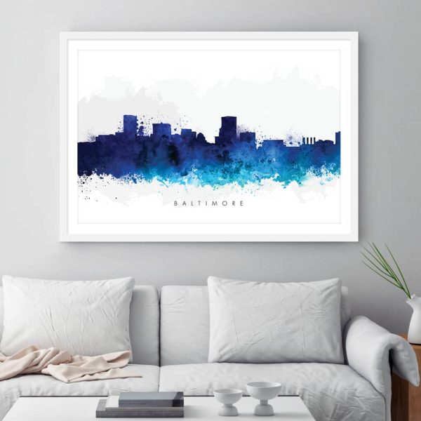 baltimore skyline blue watercolor print framed