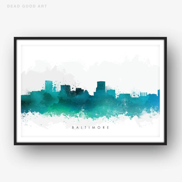 baltimore skyline green watercolor print