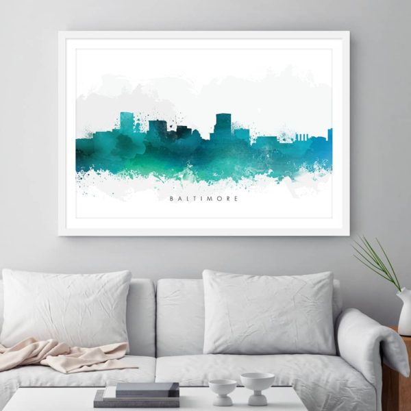 baltimore skyline green watercolor print framed