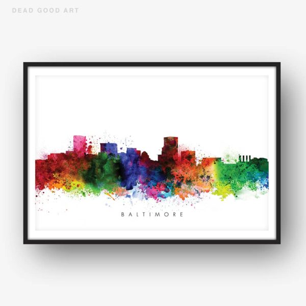 baltimore skyline multi color watercolor print