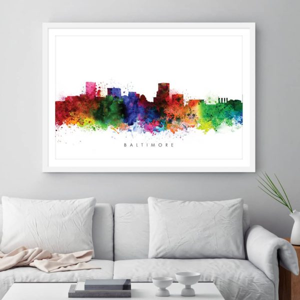 baltimore skyline multi color watercolor print framed