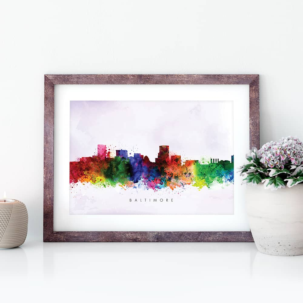 baltimore skyline purple wash watercolor print closeup