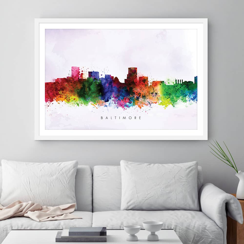 baltimore skyline purple wash watercolor print framed