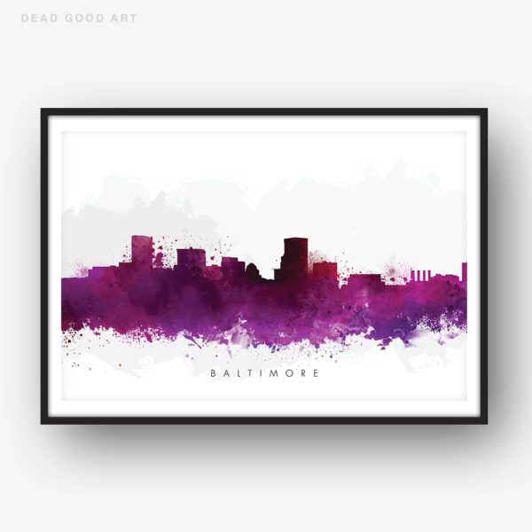 baltimore skyline purple watercolor print