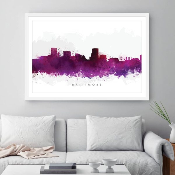 baltimore skyline purple watercolor print framed