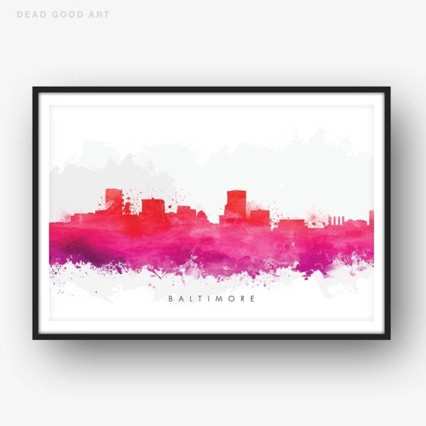 baltimore skyline red watercolor print