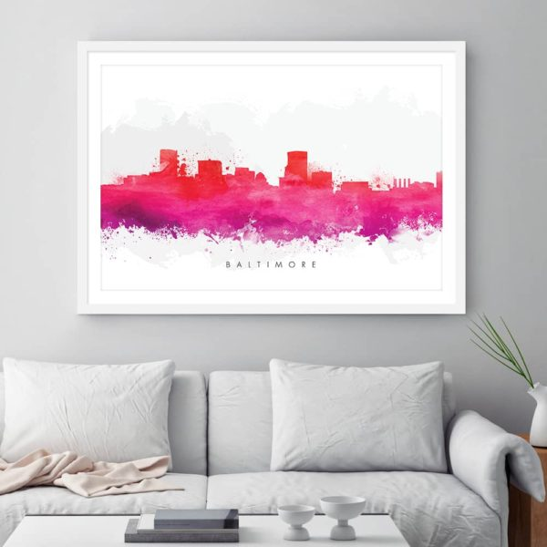 baltimore skyline red watercolor print framed