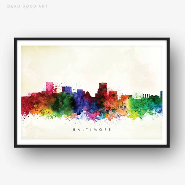 baltimore skyline yellow wash watercolor print
