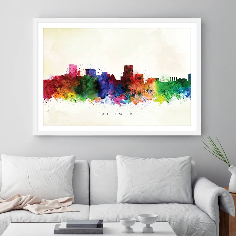 baltimore skyline yellow wash watercolor print framed