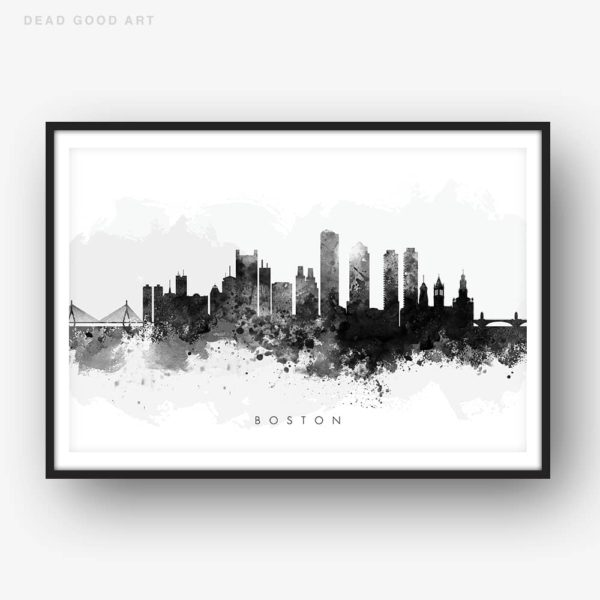boston skyline black white watercolor print