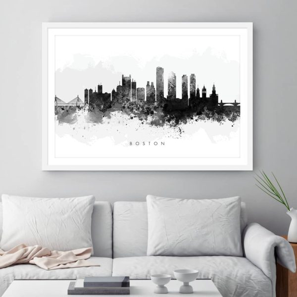 boston skyline black white watercolor print framed