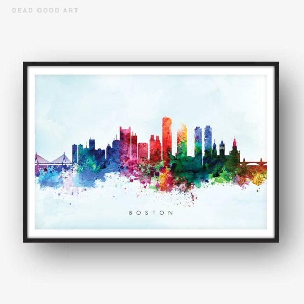 boston skyline blue wash watercolor print