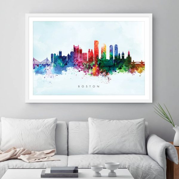boston skyline blue wash watercolor print framed