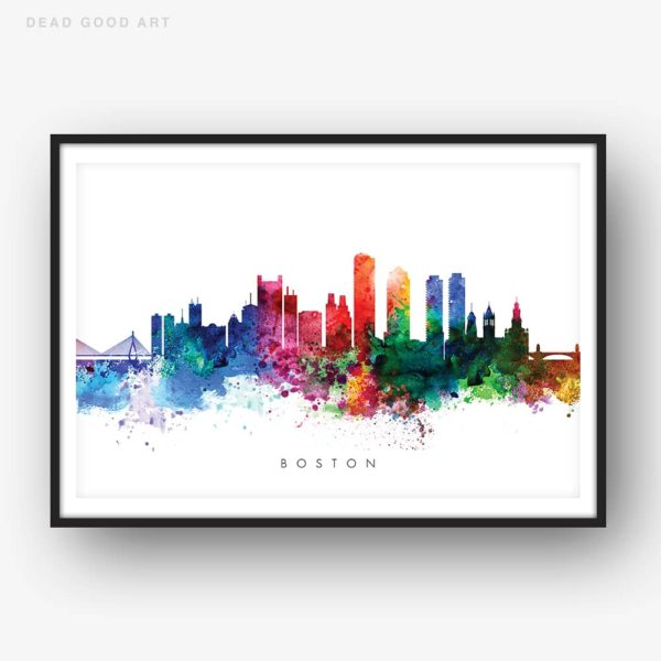 boston skyline multi color watercolor print
