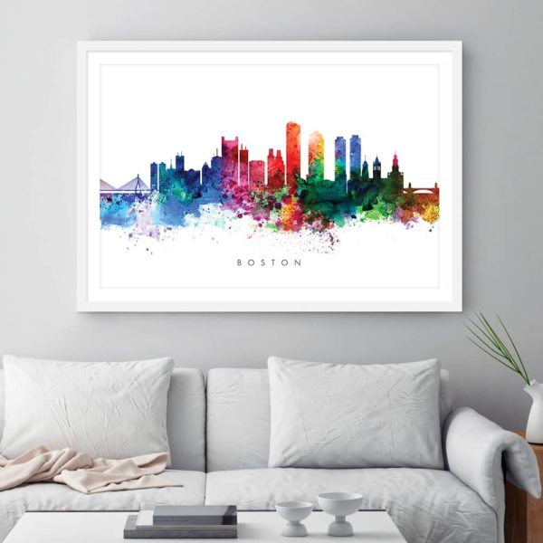 boston skyline multi color watercolor print framed