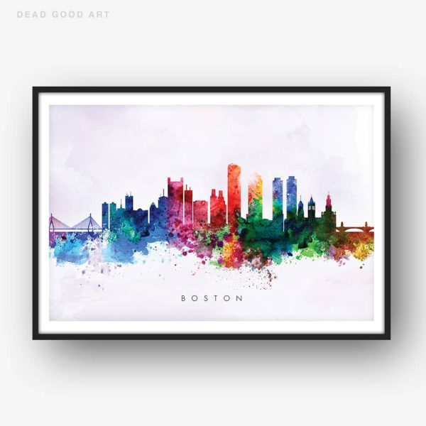 boston skyline purple wash watercolor print
