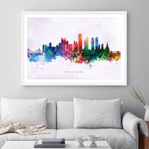 boston skyline purple wash watercolor print framed