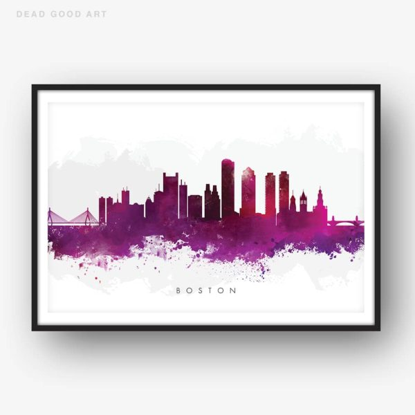 boston skyline purple watercolor print