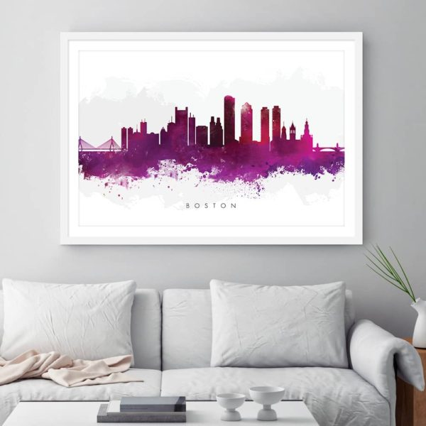 boston skyline purple watercolor print framed