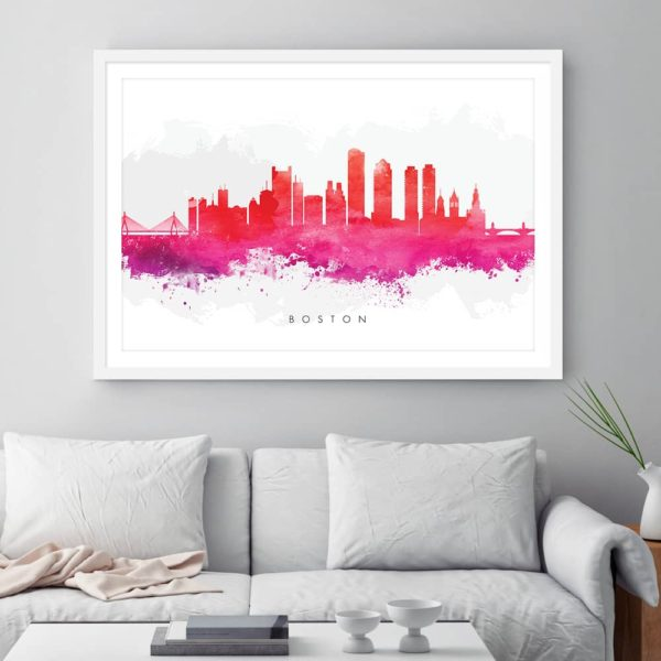 boston skyline red watercolor print framed