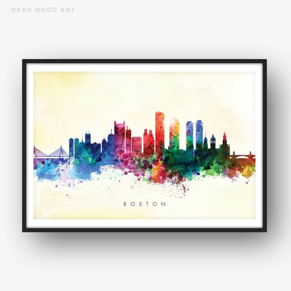 boston skyline yellow wash watercolor print