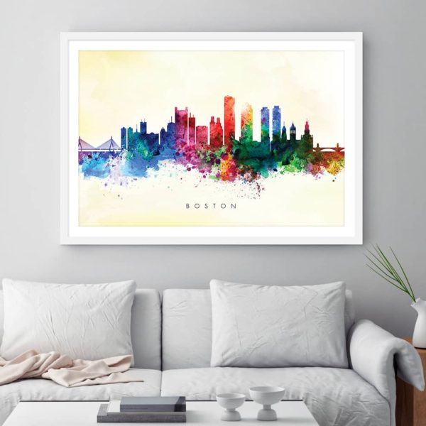 boston skyline yellow wash watercolor print frame