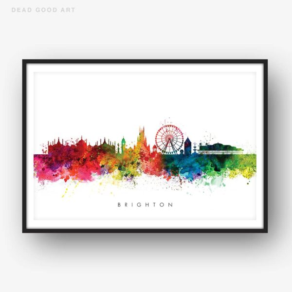 brighton skyline multi color watercolor print