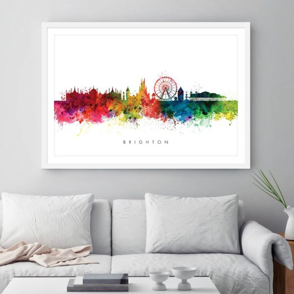 brighton skyline multi color watercolor print framed