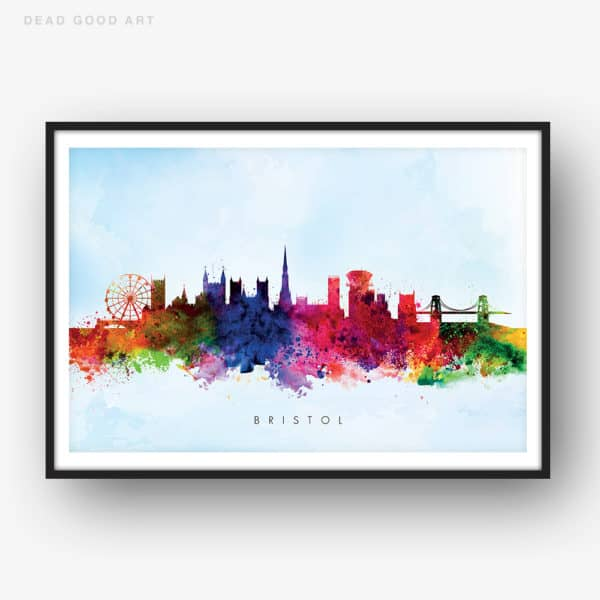 bristol skyline blue wash watercolor print