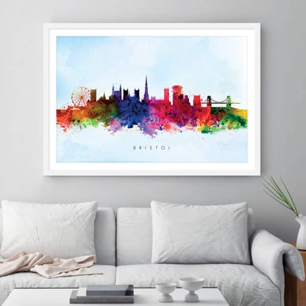 bristol skyline blue wash watercolor print framed
