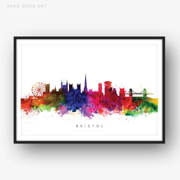 bristol skyline multi color watercolor print
