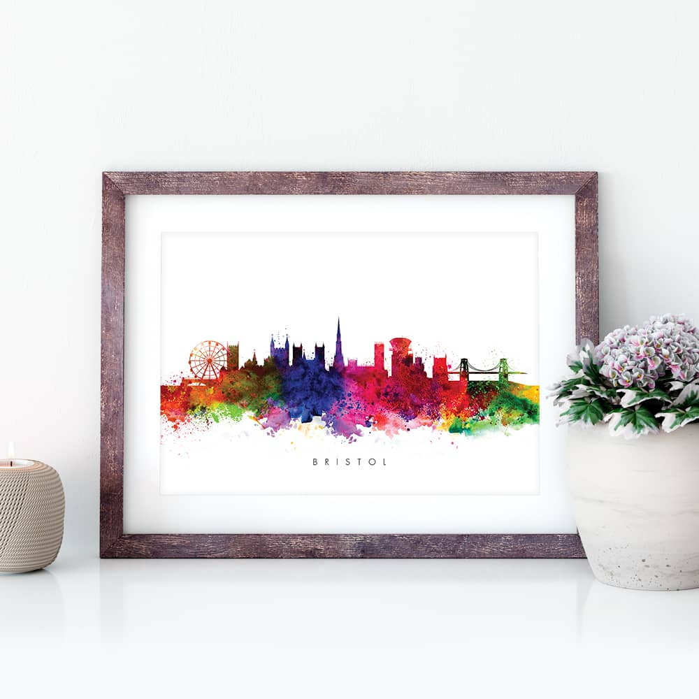 bristol skyline multi color watercolor print closeup