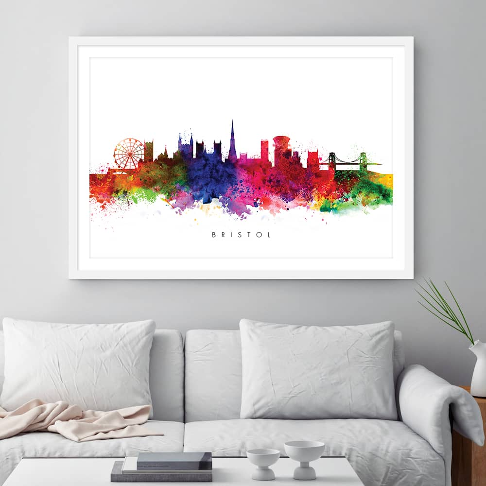 bristol skyline multi color watercolor print framed