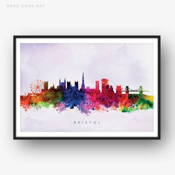 bristol skyline purple wash watercolor print