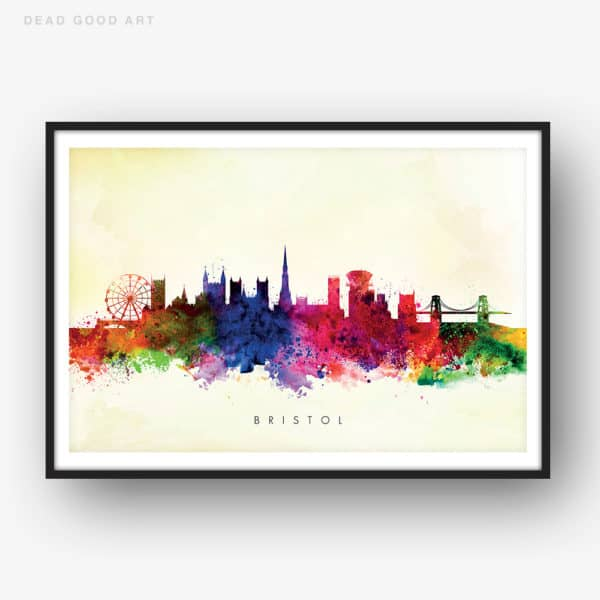 bristol skyline yellow wash watercolor print