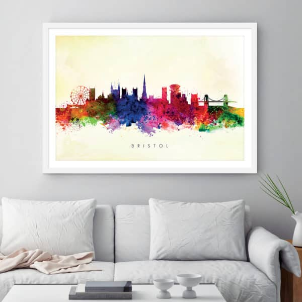 bristol skyline yellow wash watercolor print framed