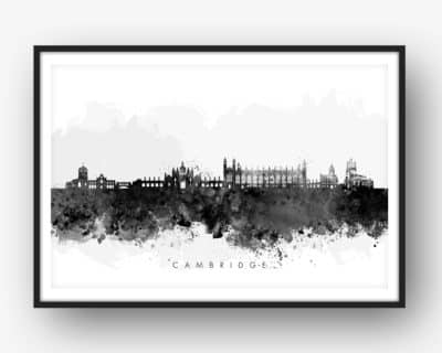cambridge skyline black white watercolor print