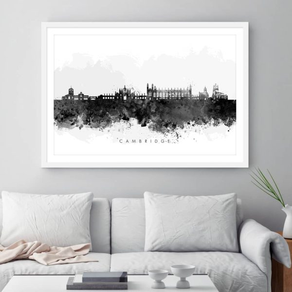 cambridge skyline black white watercolor print framed