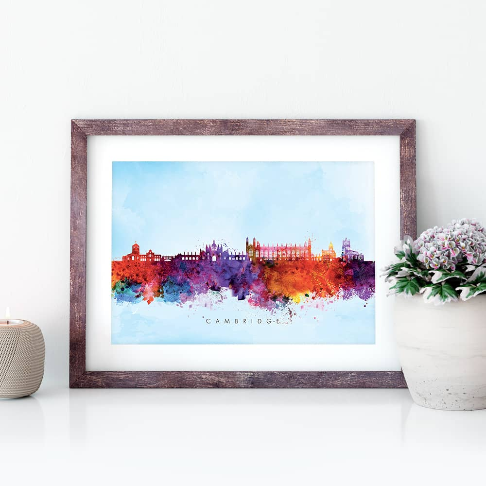 cambridge skyline blue wash watercolor print closeup