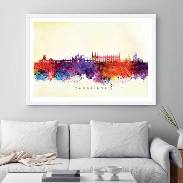 cambridge skyline blue wash watercolor print framed 1